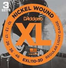 3- Pack D'Addario EXL110 Nickel Wound Light Electric Strings