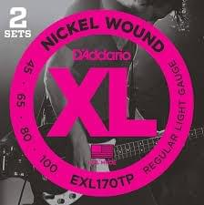 D'Addario EXL170TP Nickel Wound Bass Guitar Strings, Light, 45-100, 2 Sets, Long Scale