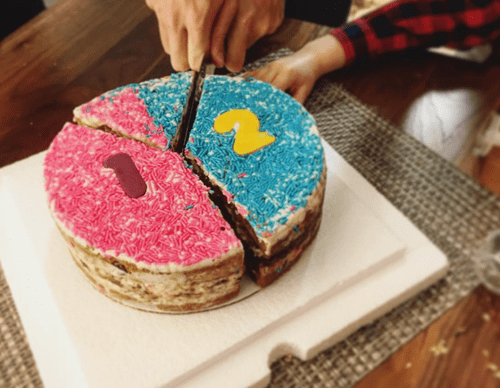 The Gender Reveal Cookie Cake
