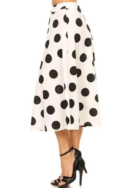 Polka Dot Flaring Skirt