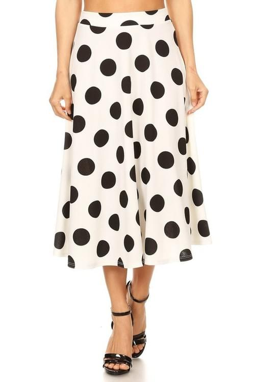 Polka Dot Flaring Skirt