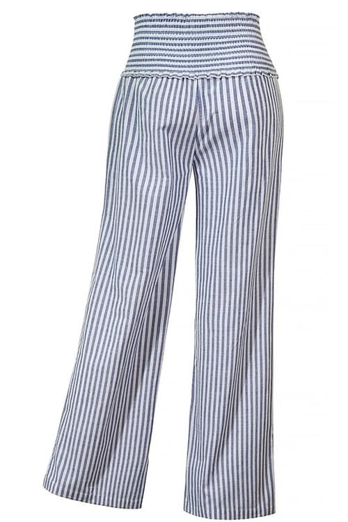 Smocked Striped Palazzo Wide Leg Linen Pants