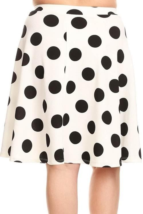 Plus Polka Dot Print Skirt