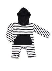 White & Black Stripe Baby Romper with  Hoodie