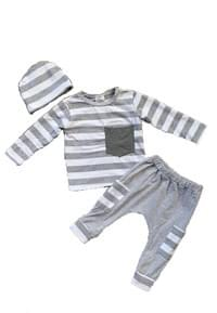 Gray Stripe Baby 3 Piece Set
