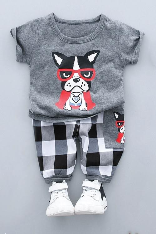 Boys Bulldog Print Top and Pants Set