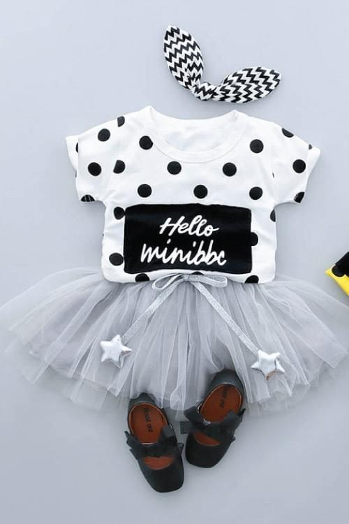 Girls Polka Dot Top and Lace Skirt ( White)