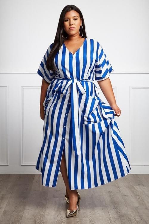 Plus Striped Maxi Dress
