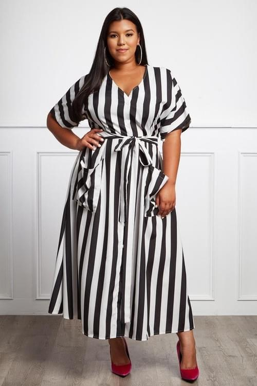 Plus Striped Maxi Dress