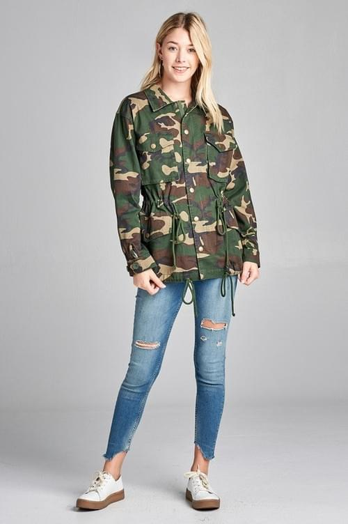Plus Loose Fit Camo  Jacket