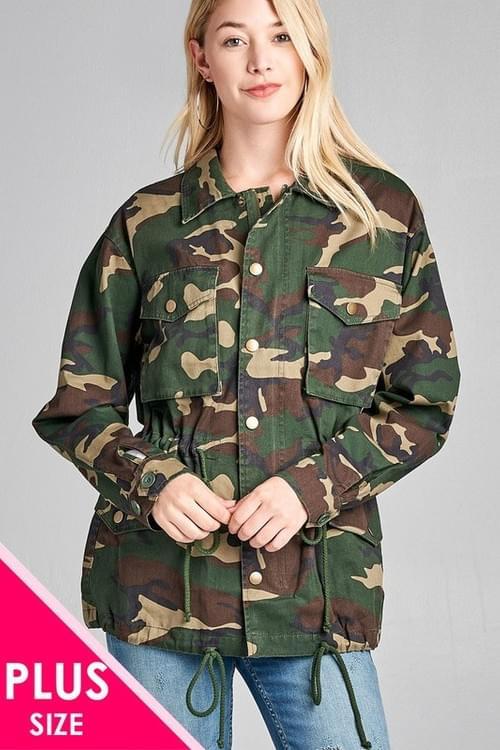 Plus Loose Fit Camo  Jacket