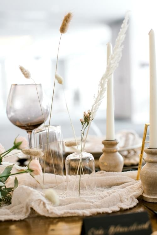 Set of Minimalist Vases + Dried Grasses