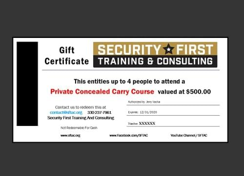 Gift Certificate - Private Conceal & Carry for up to 4 people