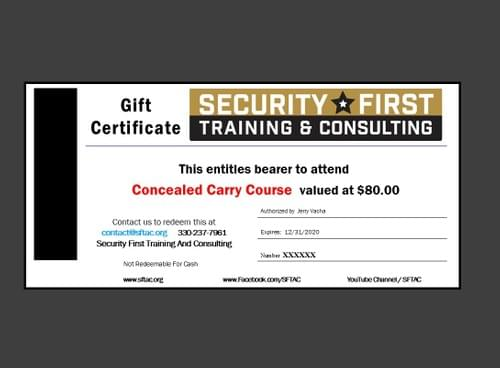 Gift Certificate - Conceal & Carry - Individual