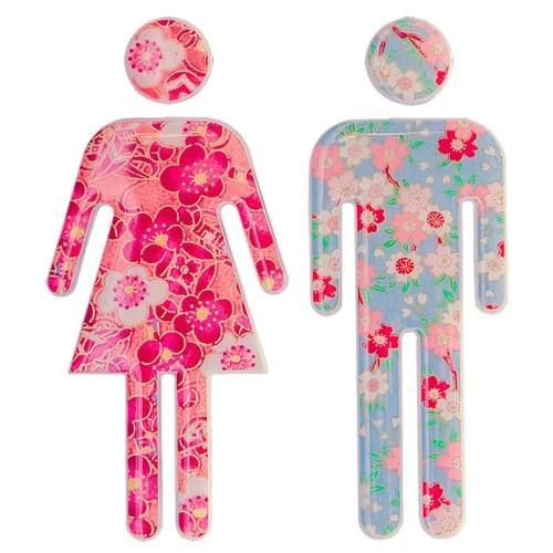 Stickers muraux porte wc – Fleur et couleur
