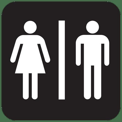 Stickers Muraux - Porte WC - Homme et femme - Fond noir