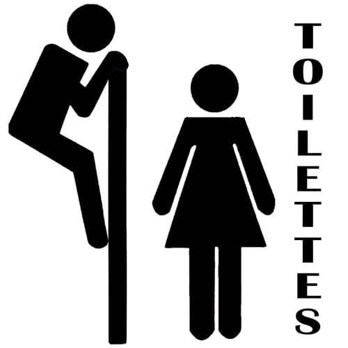 Stickers décoration porte toilettes - Curieux