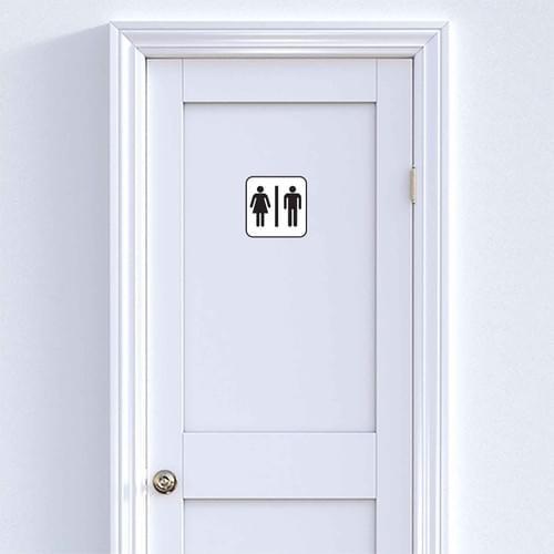 Stickers muraux porte wc – Femme et Homme – Fond blanc