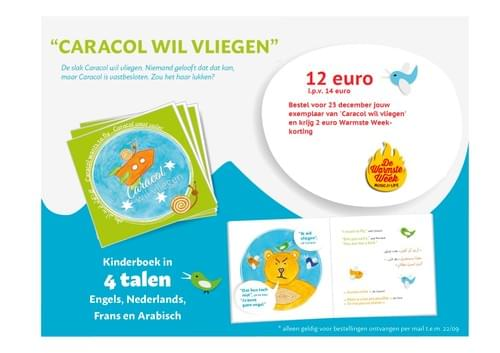 "Boek in 4 talen ""Caracol wil vliegen"" / Book in 4 languages ""Caracol wants to fly"""