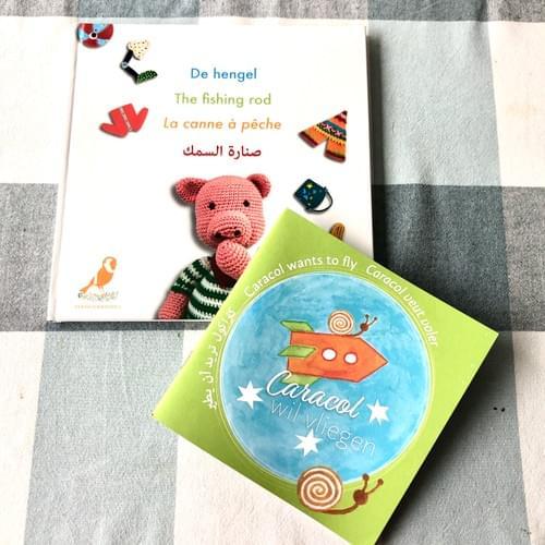 pakket met 2 meertalige boeken Caracol wil vliegen + De hengel