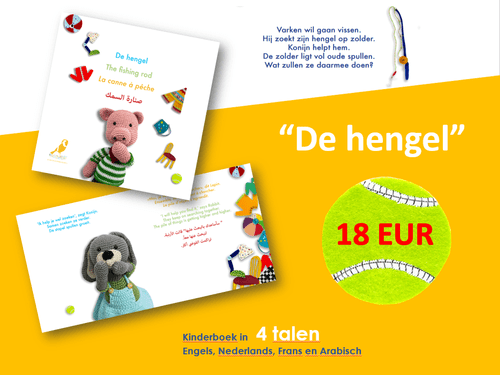 "Boek in 4 talen ""De hengel"" / Book in 4 languages ""The fishing rod"""