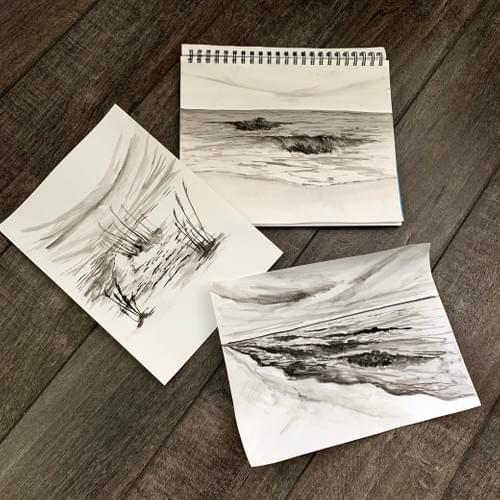 B&W WC Seascape Sketches