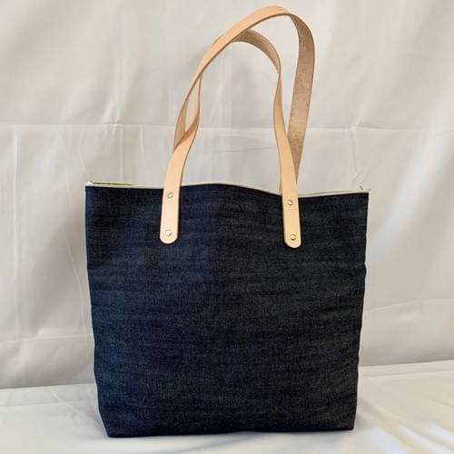 Lined Denim Market Tote