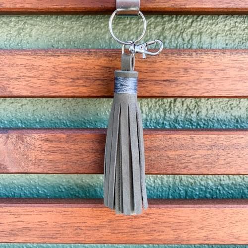 Leather Tassel Keychain/Bag Accessory - small