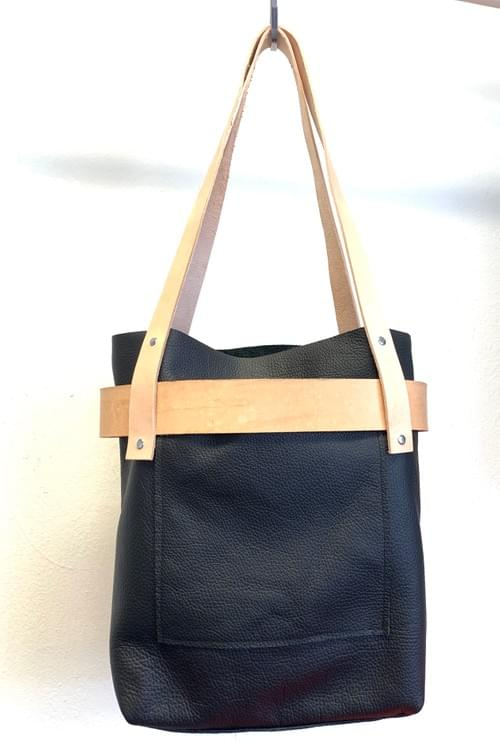 Tall Leather Banded Tote