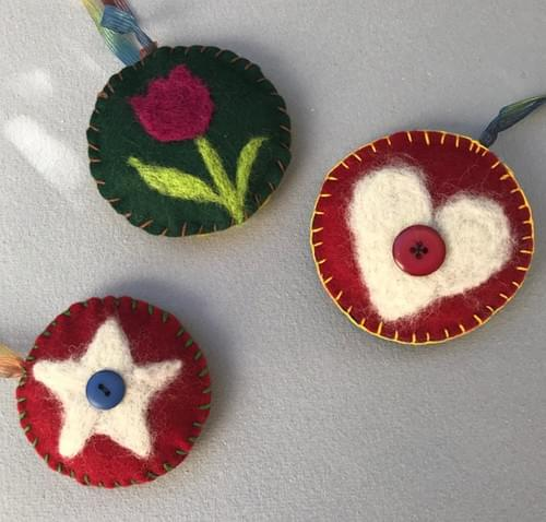 Wool Needle Felted Holiday Ornaments Online - Nov. 21