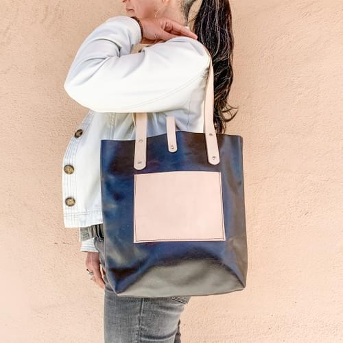 Tall Leather Tote in Smooth Espresso & Natural