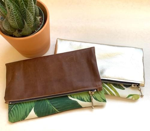 Leather & Leaf Print Fold-over Clutch