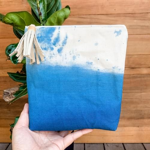 Hand-dyed Canvas Zipper Pouch - Large