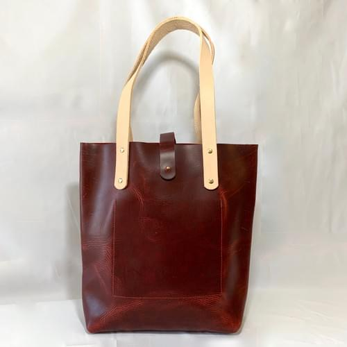 Waxy Red All-Leather Tote