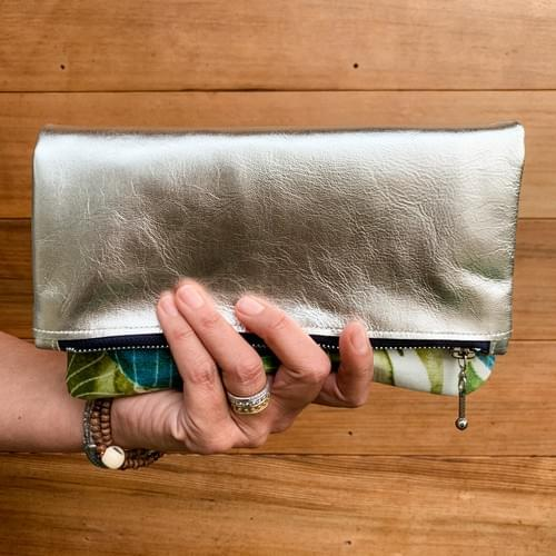 Leather & Leaf Print Fold-over Clutch