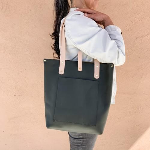 Tall Leather Tote in Dark Olive