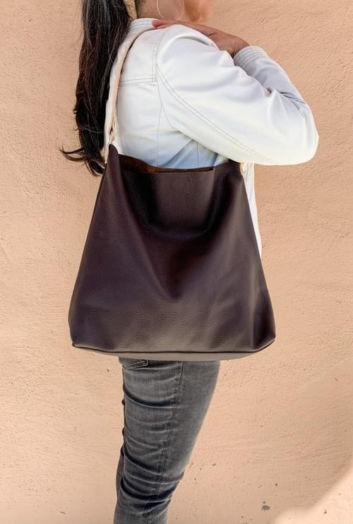 Slouchy Leather Hobo Handbag