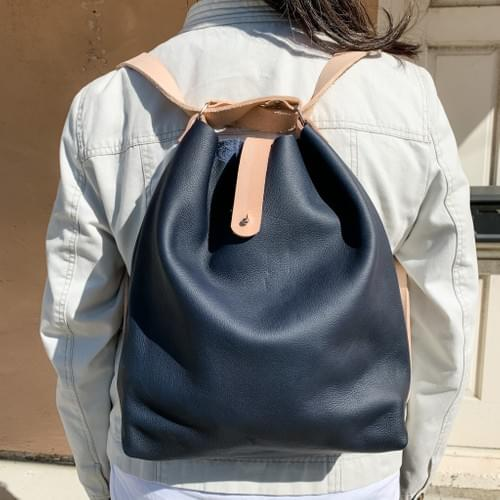Navy Nappa Leather Convertible Bag