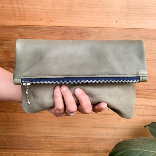Leather Fold-over Clutch