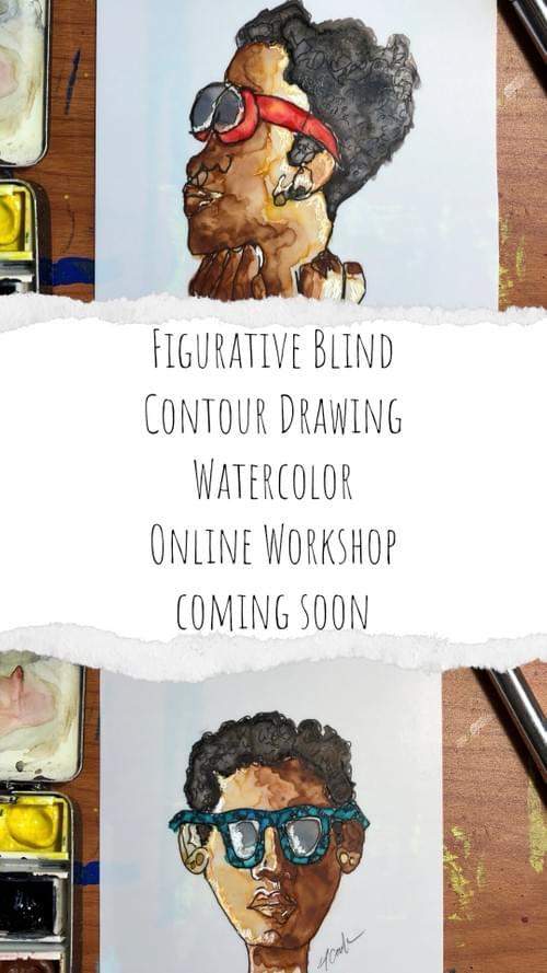 Figurative Blind Contour Drawing w/Watercolor Online - July 19