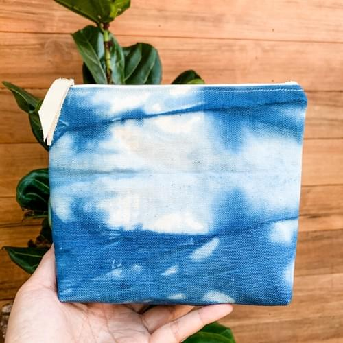 Hand-dyed Canvas Zipper Pouch - small