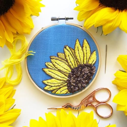 Sunny Sunflower Embroidery Class & Kit - Online Sept. 12