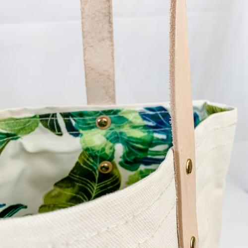 Monstera Print Lined Canvas Shopper