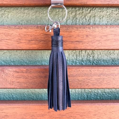 Leather Tassel Keychain/Bag Accessory - small