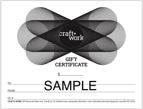 Craft+Work Studio Gift Certificate