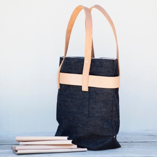 Tall Denim Banded Tote