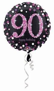 Foil Adult Age Balloons Pink and Black
