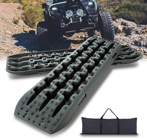 IKURAM 2 Pcs Traction Boards for Off-Road Truck, Cars, Sand, Snow, 4X4 Recovery Traction Mat (Olive)
