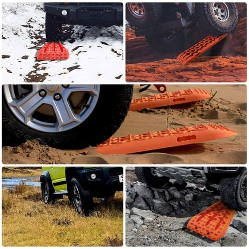 IKURAM 2 Pcs Traction Boards for Off-Road Truck, Cars, Sand, Snow, 4X4 Recovery Traction Mat (Orange