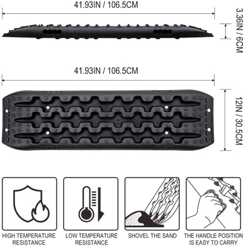 IKURAM 2 Pcs Traction Boards for Off-Road Truck, Cars, Sand, Snow, 4X4 Recovery Traction Mat (Black)